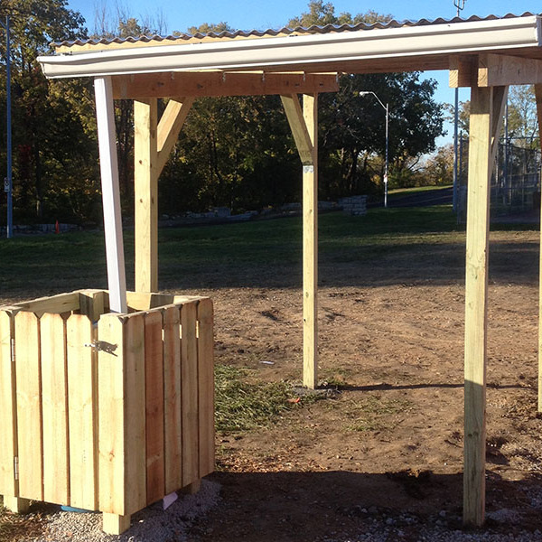How to build a shade structure with roof and rainwater collection system