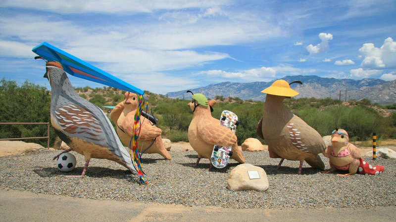 Naranja Park gets public art with student-design Gambel Quail family