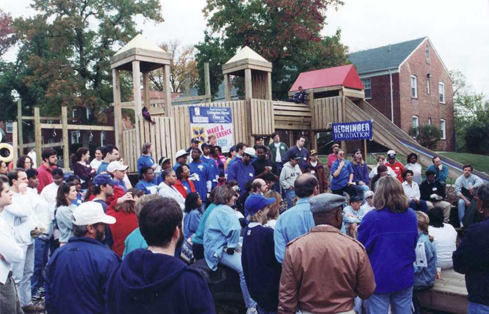 October 18, 1995: The first KaBOOM! playground is built at Livingston Manor, Washington DC.