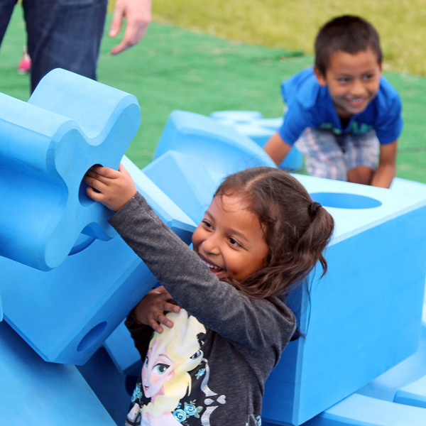 At the Play Everywhere Tour, powered by Target, young kids play with Imagination Playground™.