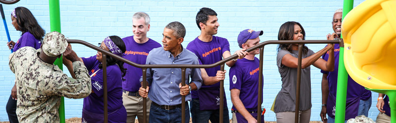 President Obama and the First Lady volunteer with KaBOOM! on the National Day of Service