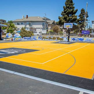 A wide view of the new multi-sport court